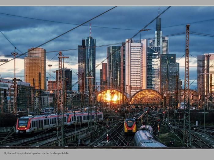 Skyline und Hauptbahnhof Frankfurt: Blick von der Camberger Brücke